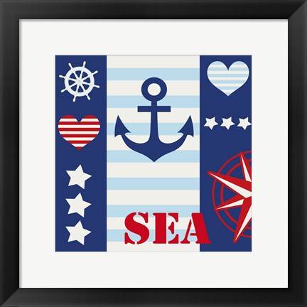 Framed Maritime Stripe Sea Print