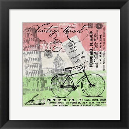 Framed Vintage Travel Italia I (Flag) Print