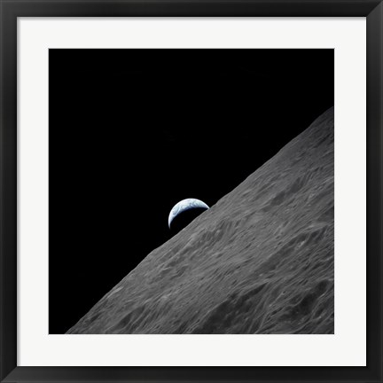 Framed crescent Earth Rises above the Lunar Horizon Print