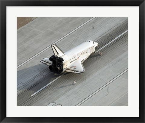 Framed Space Shuttle Discovery on the Runway at Edwards Air Force Base Print