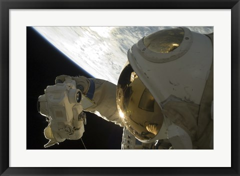 Framed Cosmonaut Photographs himself during a Session of Extravehicular Activity Print