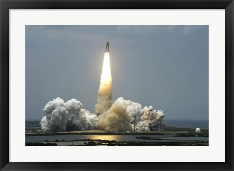 Framed Space Shuttle Atlantis Lifts off into the Sky Print