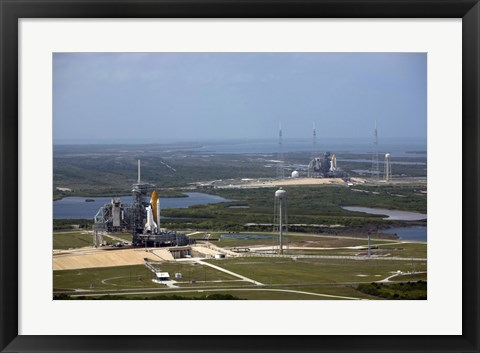 Framed Space Shuttle Atlantis on Launch Pad 39A is Accompanied by Space Shuttle Endeavour on Launch Pad 39B Print