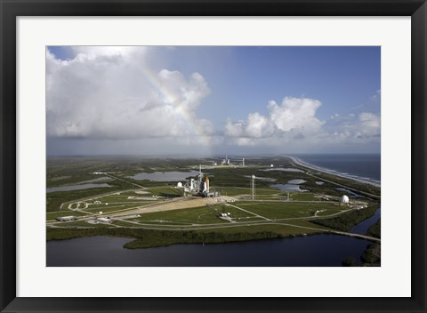 Framed Space Shuttle Atlantis and Endeavour Sit on their Launch Pads at Kennedy Space Center Print