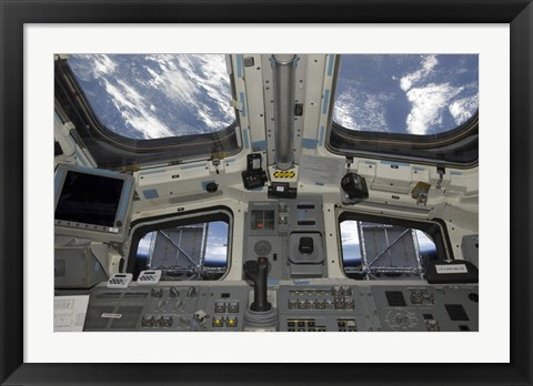 Framed view from Inside the Flight Deck of Space Shuttle Atlantis Print