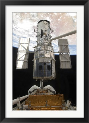 Framed Hubble Space Telescope is Released from the Cargo Bay of Space Shuttle Atlantis Print