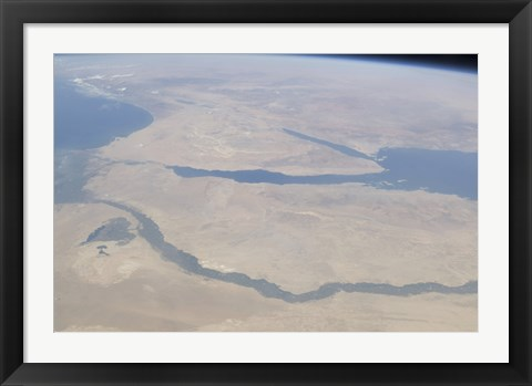 Framed Aerial view of the Egypt and the Sinai Peninsula along with part of the Mediterranean Sea and Red Sea Print
