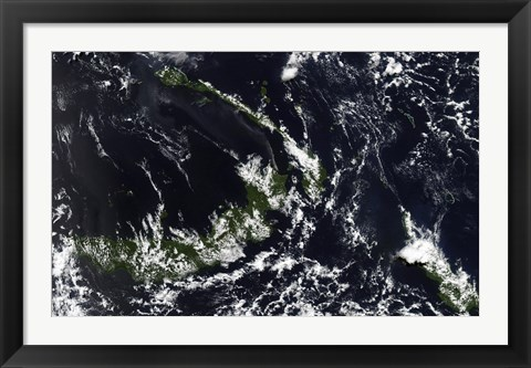 Framed volcanic Plume from the Rabaul Caldera Blows along the island of New Ireland Print