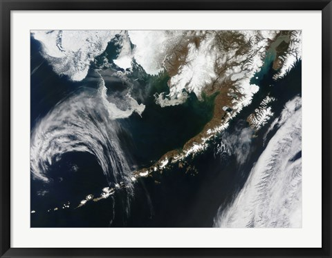 Framed Alaskan Peninsula and Aleutian Islands Print