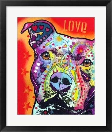 Framed Thoughtful Pitbull 2 Print