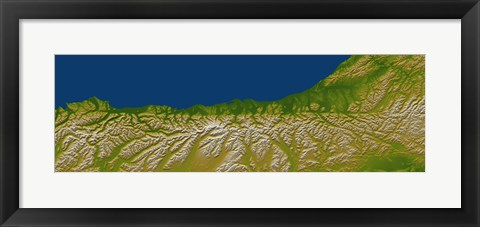 Framed Alpine Fault along the West Coast of New Zealand Print