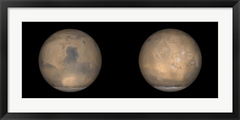 Framed Global Views of Mars in late Northern Summer Print