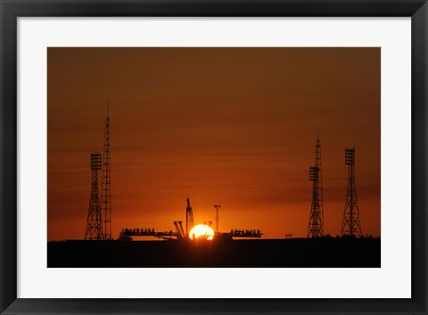 Framed Soyuz Launch Pad at the Baikonur Cosmodrome in Kazakhstan Print