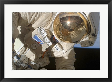 Framed Reflections in the Visor of a Russian Federal Space Agency cosmonaut Print