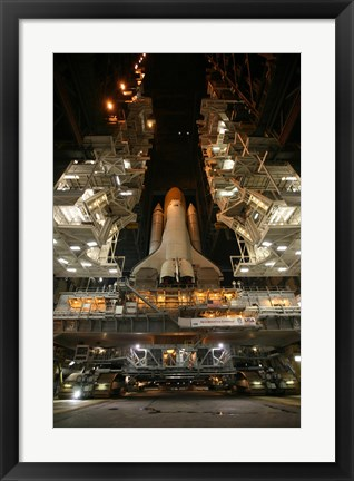 Framed Space Shuttle Endeavour Inside the Vehicle Assembly Building at Kennedy Space Center Print