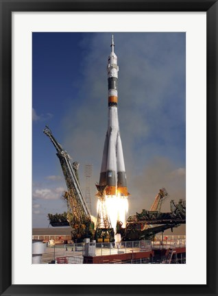 Framed Soyuz TMA-13 Spacecraft Launches from the Baikonur Cosmodrome in Kazakhstan Print