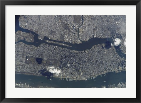 Framed Manhattan Island and its Easily Recognizable Central Park Print