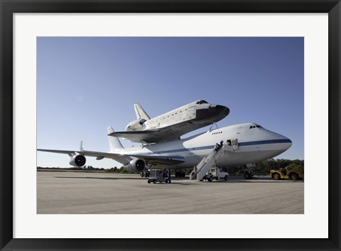 Framed Space Shuttle Endeavour Mounted on a Boeing 747 Print