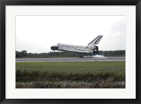 Framed Space Shuttle Discovery Touches Down on the Runway at Kennedy Space Center Print