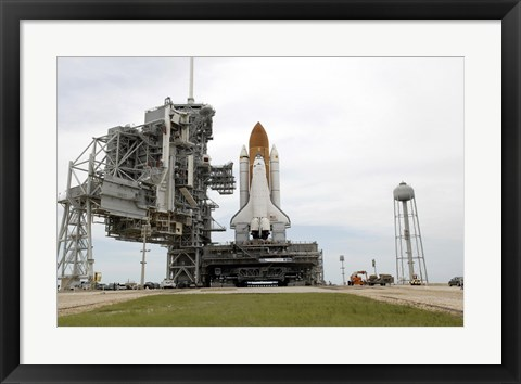 Framed Space Shuttle Atlantis comes to a Stop on the Top of Launch Pad 39A at Kennedy Space Center Print