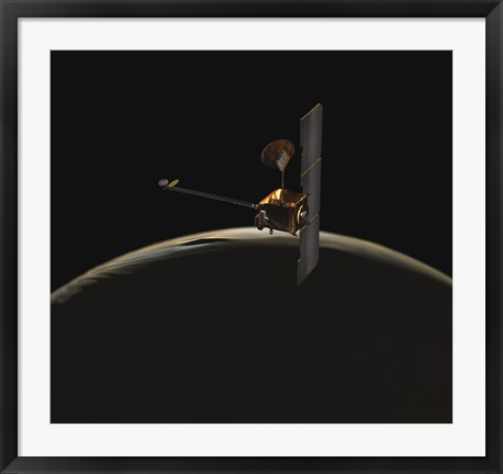 Framed Mars Odyssey Spacecraft Over Martian Sunrise Print