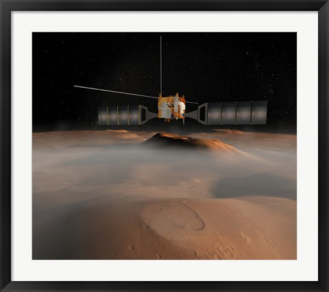 Framed Artist's Concept of Mars Express Spacecraft in Orbit Around Mars Print