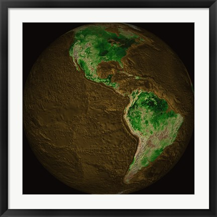 Framed Topographic Map of Earth Print