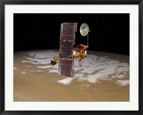 Framed Mars Odyssey Spacecraft Passes Above Mars' South Pole Print