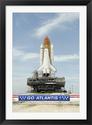 Framed Space Shuttle Atlantis Approaches the Top of Launch Pad 39A at Kennedy Space Center Print