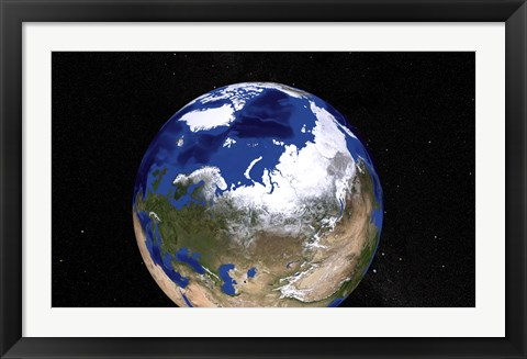 Framed View of Earth Showing the Arctic Region Print