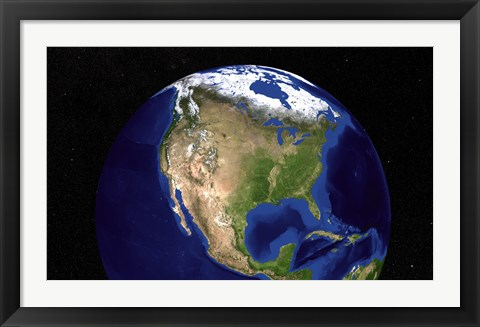 Framed Blue Marble Next Generation Earth Showing North America Print