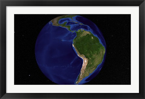 Framed Blue Marble Next Generation Earth Showing South America Print