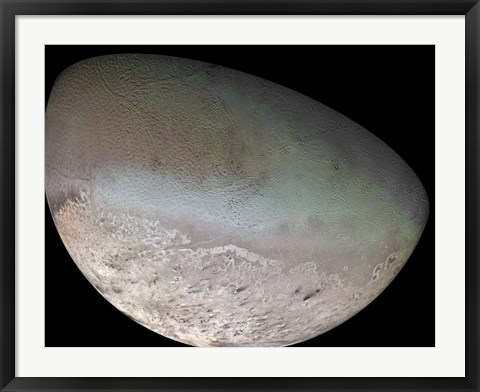 Framed Triton, the Largest Moon of planet Neptune Print