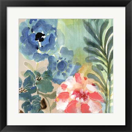 Framed Blue Peach Floral I Print