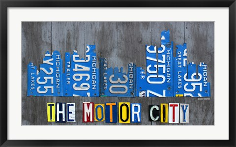 Framed Detriot City Skyline License Plate Print