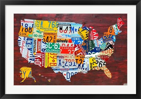 Framed USA Map I Print