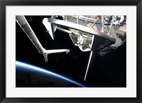 Framed Components of Space Shuttle Discovery Backdropped by Earth's Horizon Print