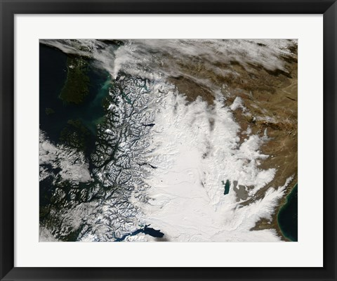 Framed Ash Plume from Chaiten Volcano and Snow in Southern Chile and Argentina Print