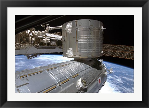 Framed Kibo Japanese Pressurized Module and Kibo Japanese Logistics Module of the International Space Station Print