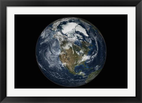 Framed Full Earth showing North America Print