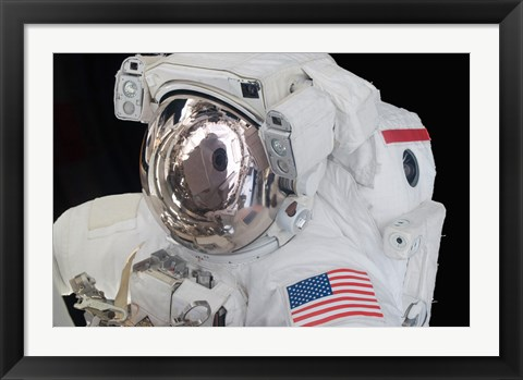 Framed Astronaut's Helmet Visor During a Spacewalk Print