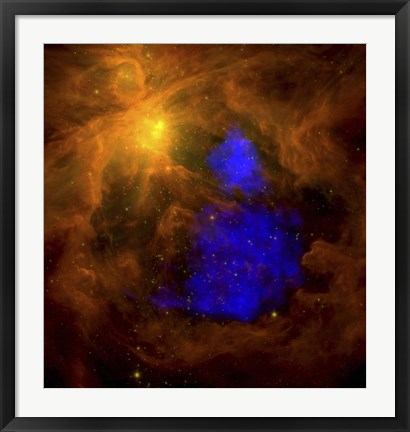Framed Orion Nebula in the Infrared Overlaid with XMM-Newton X-Ray Data in Blue Print