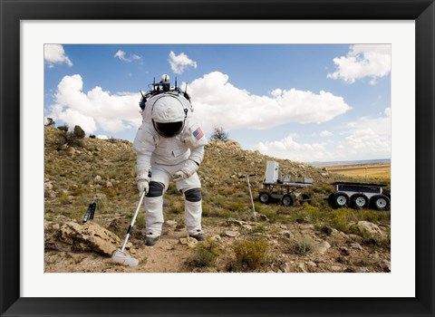 Framed Astronaut Collects a Soil Sample Print