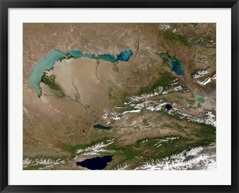 Framed Satellite view of Lake Balkhash in Eastern Kazakhstan Print