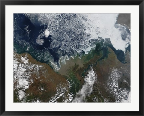 Framed Mackenzie River empties into Mackenzie Bay in Northern Canada Print