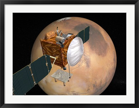 Framed Mars Telecommunications Orbiter in Flight around Mars Print