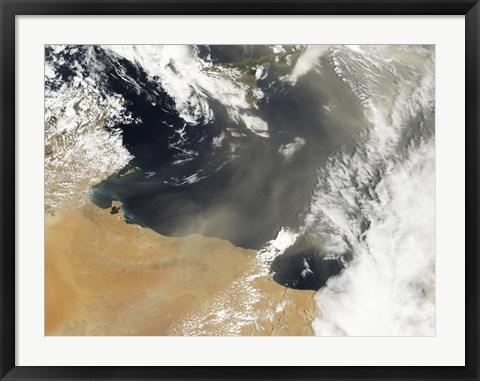 Framed Dust plumes Blowing off the North African Coast Print
