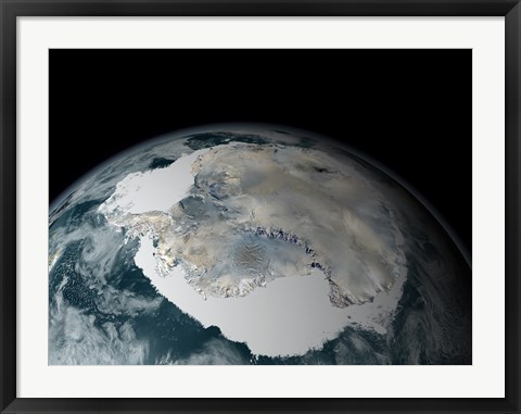 Framed Frozen Continent of Antarctica and its Surrounding Sea Ice Print