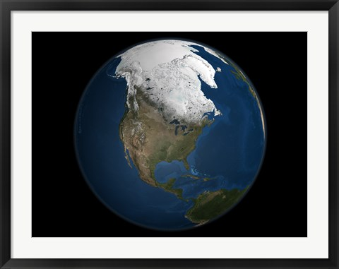 Framed Global view over North America with Arctic Sea Ice Print