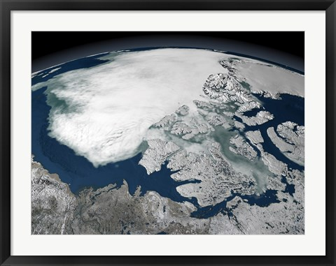 Framed Arctic Sea Ice Above North America Print
